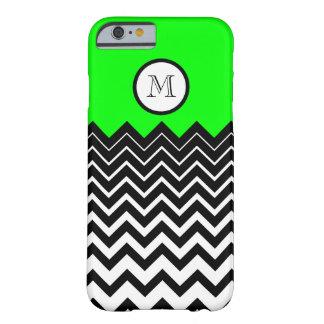 Neon Green Black White Chevron Zigzag Monogram Barely There iPhone 6 Case