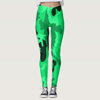 Neon Green Camo Girl Leggings
