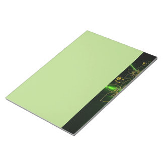 Neon Green Floral Fractal Notepad