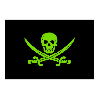 Neon Green Jolly Roger Pirate Flag Poster
