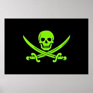 Neon Green Jolly Roger Pirate Flag Print