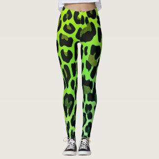 Neon Green Leopard print Leggings