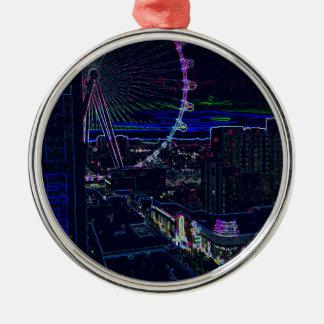 Neon High Roller Ferris Wheel Abstract Vegas Christmas Ornament