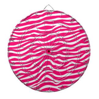 Neon Hot Pink and White Animal Print Zebra Stripes Dartboard