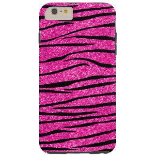 Neon hot pink glitter zebra stripes tough iPhone 6 plus case