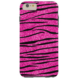 Neon hot pink glitter zebra stripes tough iPhone 6 plus case