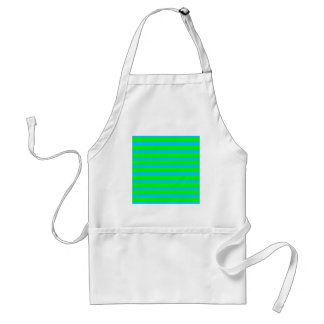 Neon Lime Green and Teal Blue Stripes Standard Apron