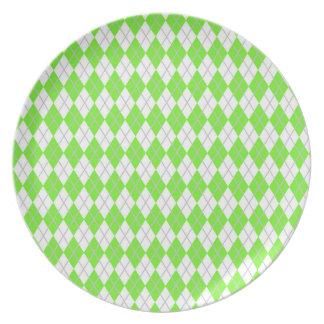 Neon Lime Green & White Argyle Dinner Plates