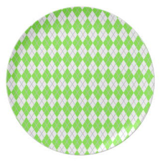 Neon Lime Green & White Argyle Plate