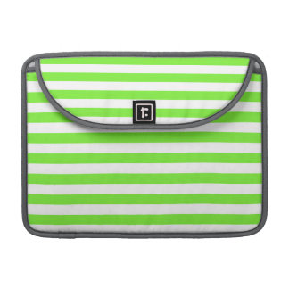 Neon Lime Green & White Stripes; Striped Sleeve For MacBook Pro