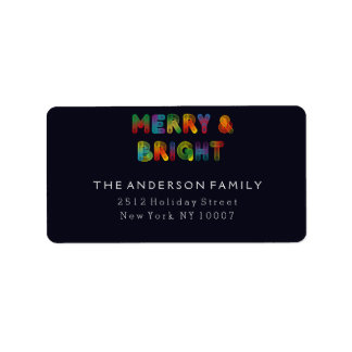 Neon Merry and Bright address labels