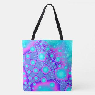 Neon Molecules Psychedelic Fractal Tote Bag