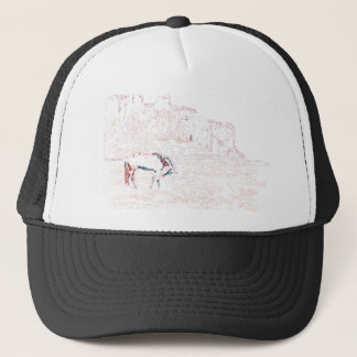 Neon Multicolor Rainbow Horse in Red Rock Country Trucker Hat