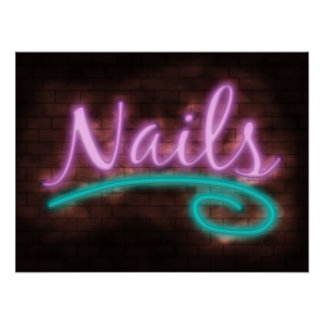 Neon Nails Sign Poster