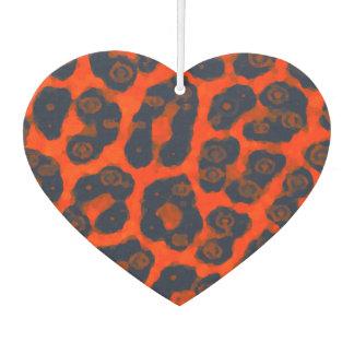 Neon Orange Black Cheetah Car Air Freshener