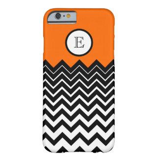 Neon Orange Black White Chevron Zigzag Monogram Barely There iPhone 6 Case
