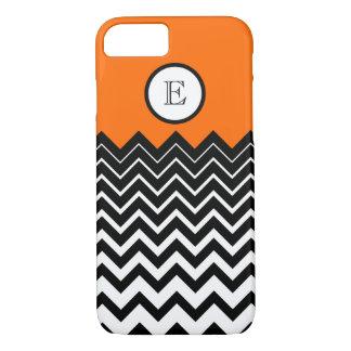 Neon Orange Black White Chevron Zigzag Monogram iPhone 7 Case