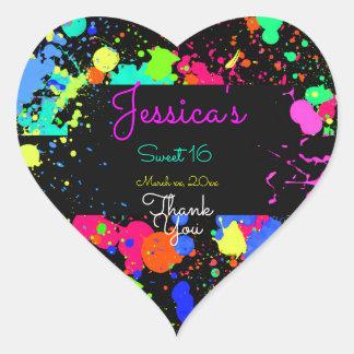 Neon, Paint Splatter, Sweet Sixteen, Bat Mitzvah Heart Sticker