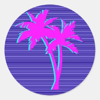 Neon Palm Tree Round Sticker