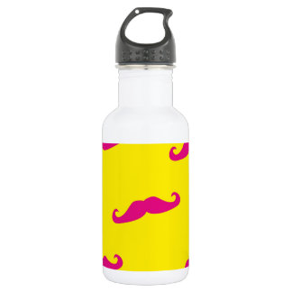 Neon pink and yellow mustache 532 ml water bottle