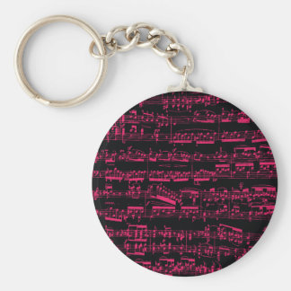 Neon pink classical sheet music (Beethoven) Basic Round Button Key Ring