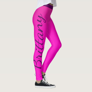 Neon Pink Custom Name Leggings
