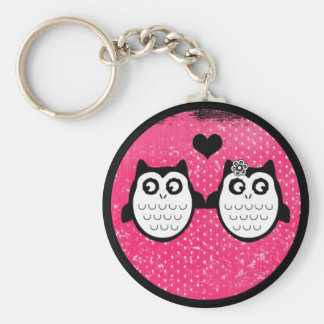 Neon pink cute grunge owl couple keychain
