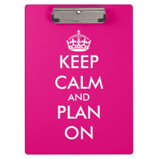 Neon pink Keep calm wedding planner clipboard