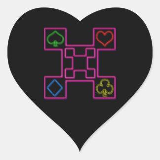 Neon pink poker heart sticker