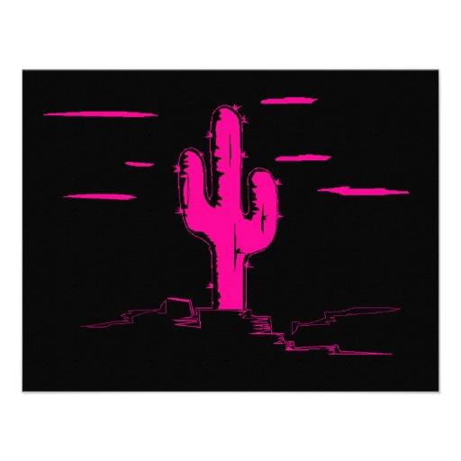 Neon Pink Saguaro Cactus on Black Invitations