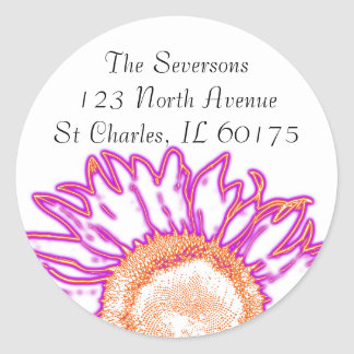 Neon Pink Sunflower Return Address Round Stickers