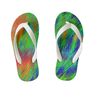 Neon psychedelic kids flip flops-for cool kids! thongs