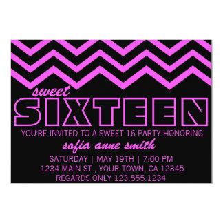 Neon Purple and Black Chevron Sweet 16 Invitation