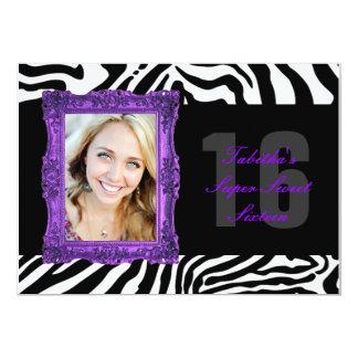 Neon Purple and Zebra | Sweet Sixteen Invitation