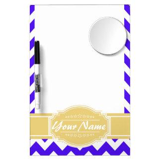 Neon Purple Chevron with Yellow Custom Name Dry Erase Board With Mirror