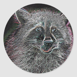 Neon Raccoon Classic Round Sticker