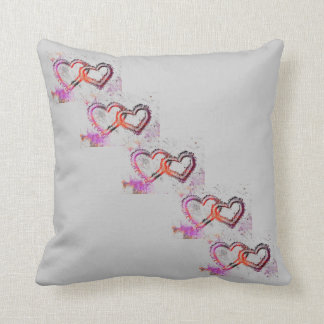 Neon Sand Hearts Throw Pillows