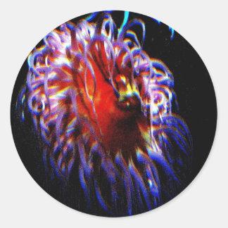 Neon Sea Anemones Round Sticker