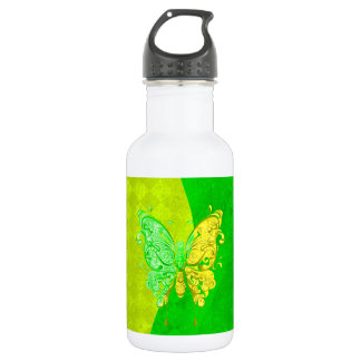 Neon Two Tone Butterfly in yellow and green 532 Ml Water Bottle