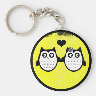 Neon yellow cute grunge owl couple keychain
