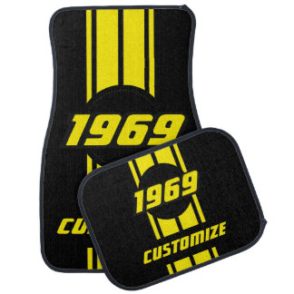 Neon Yellow Double Race Stripes Car Mat