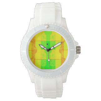 Neon Yellow Orange Green White Watch
