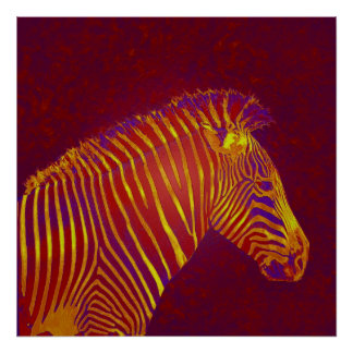 neon zebra- red poster