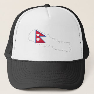 nepal country flag map trucker hat