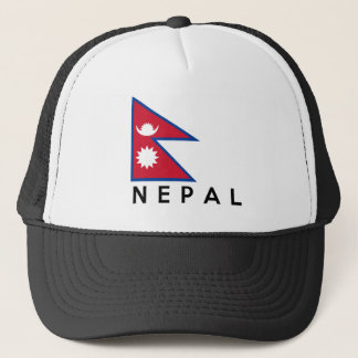 nepal country flag symbol name text trucker hat