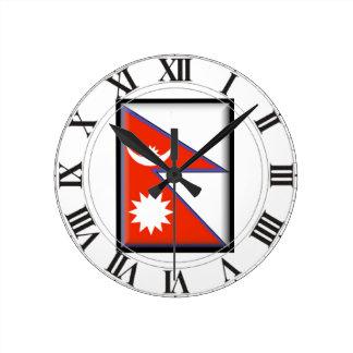 Nepal Flag Clock