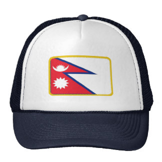 Nepal flag embroidered effect hat