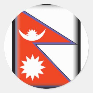 Nepal Flag Round Stickers