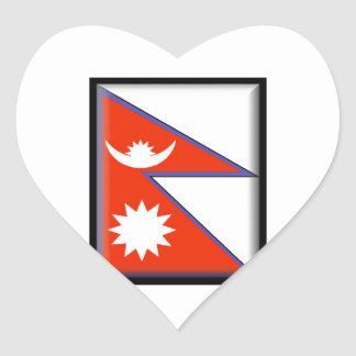 Nepal Flag Heart Sticker