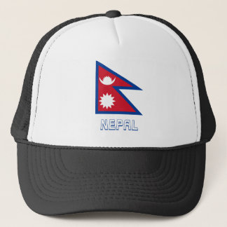 Nepal Flag with Name Trucker Hat